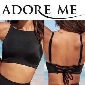 NWT Adore Me High Neck Black Lace Back Bikini Top